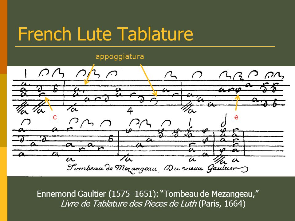French Lute Tablature appoggiatura. c. e.