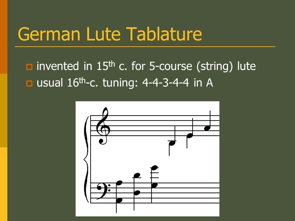 German Lute Tablature invented in 15th c. for 5-course (string) lute