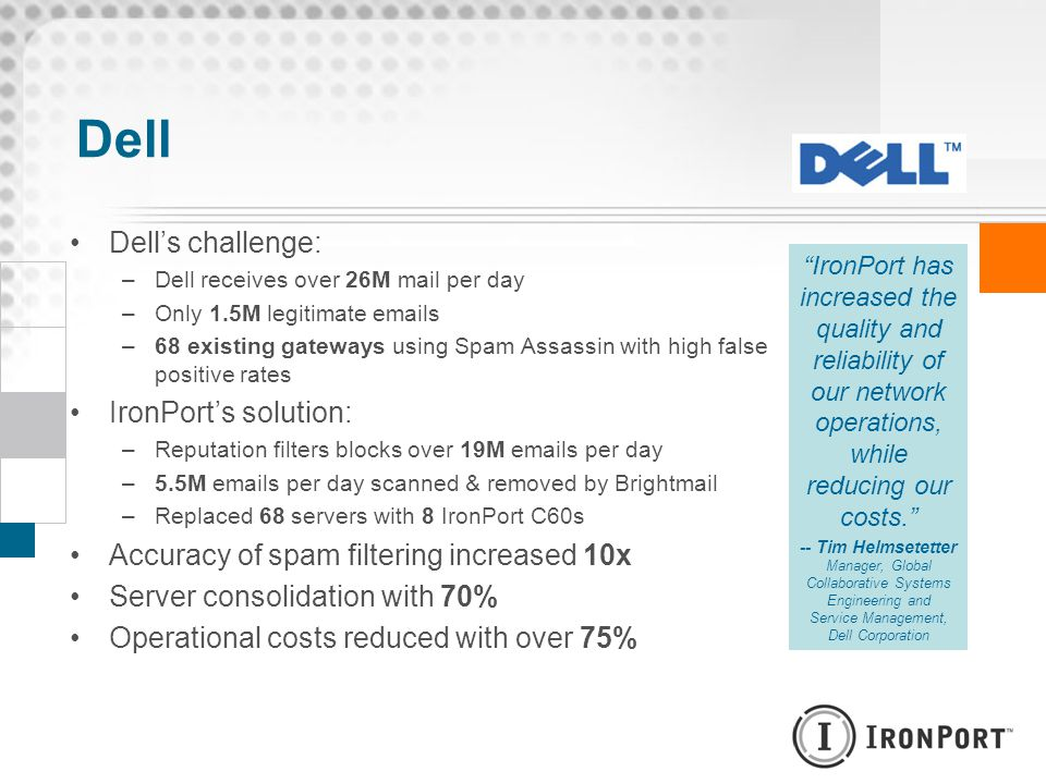 Dell Dell's challenge: IronPort's solution: