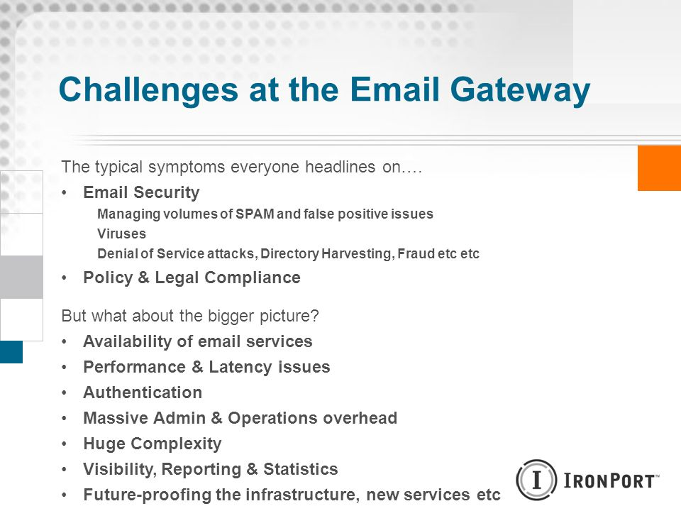 Challenges at the Email Gateway