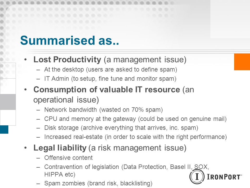 Summarised as.. Lost Productivity (a management issue)