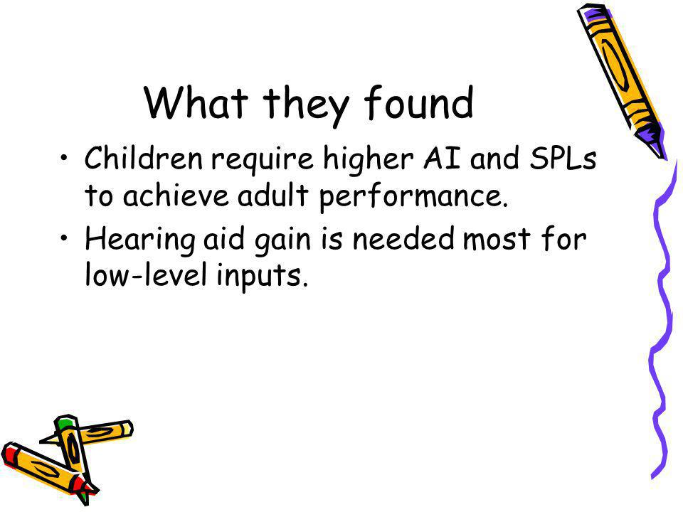 What they found Children require higher AI and SPLs to achieve adult performance.