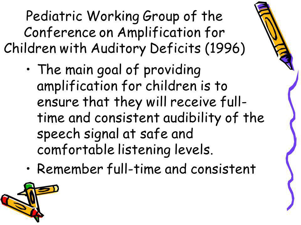 Pediatric Working Group of the Conference on Amplification for Children with Auditory Deficits (1996)