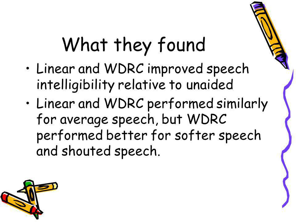 What they found Linear and WDRC improved speech intelligibility relative to unaided.