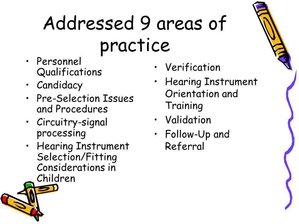 Addressed 9 areas of practice