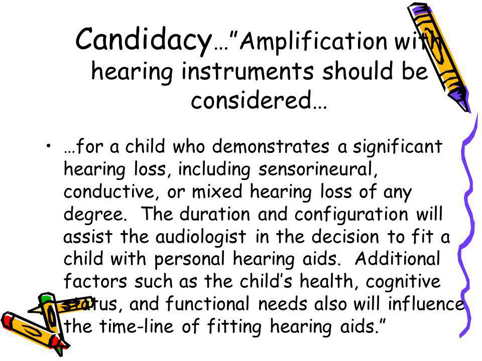 Candidacy… Amplification with hearing instruments should be considered…