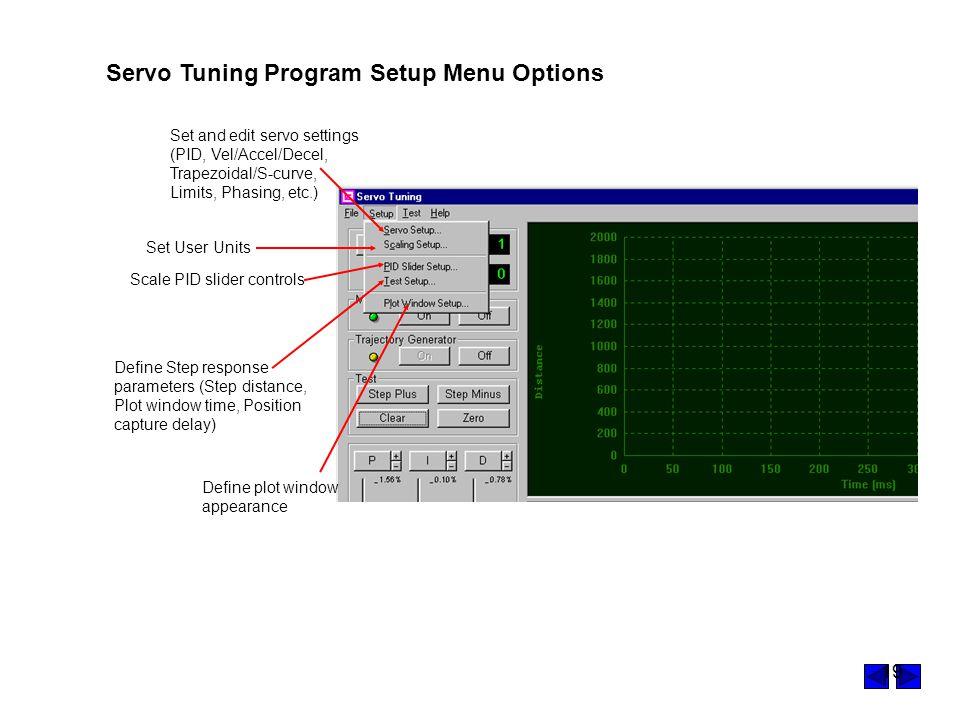 Servo Tuning Program Setup Menu Options