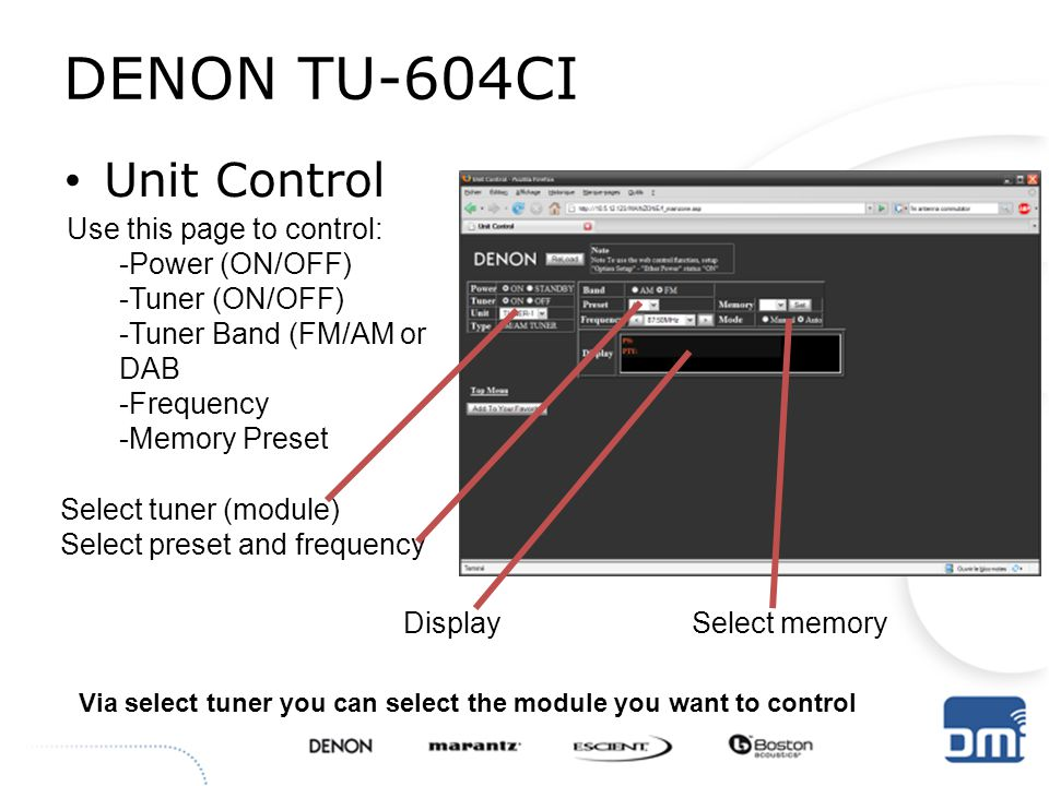 DENON TU-604CI Unit Control Use this page to control: -Power (ON/OFF)
