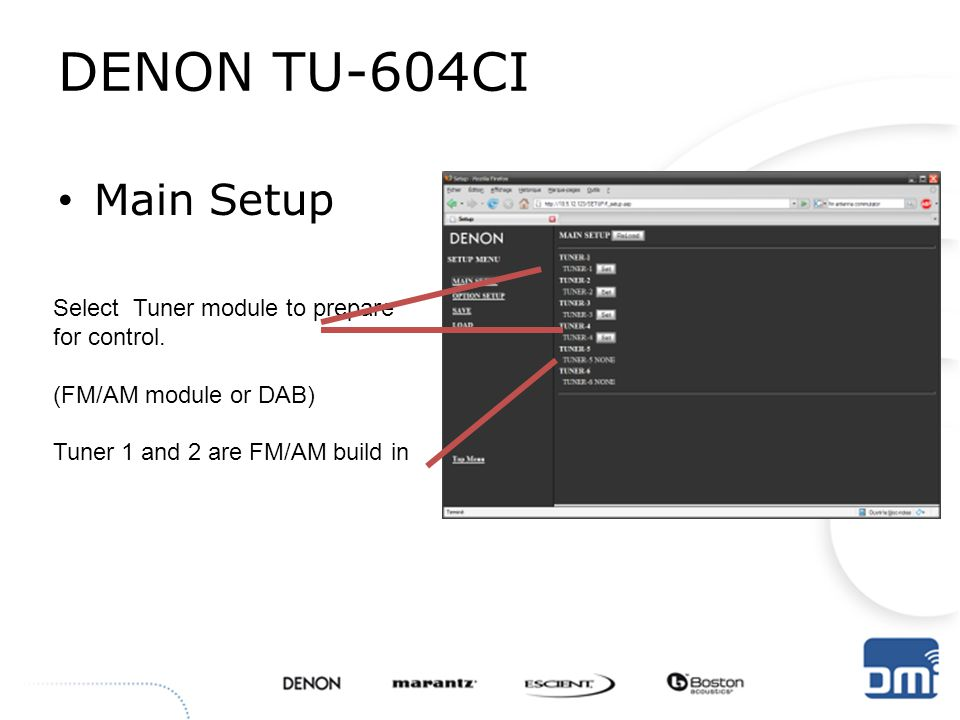 DENON TU-604CI Main Setup Select Tuner module to prepare for control.