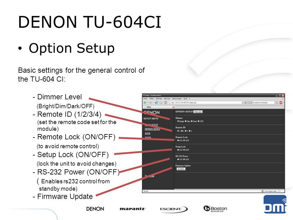 DENON TU-604CI Option Setup