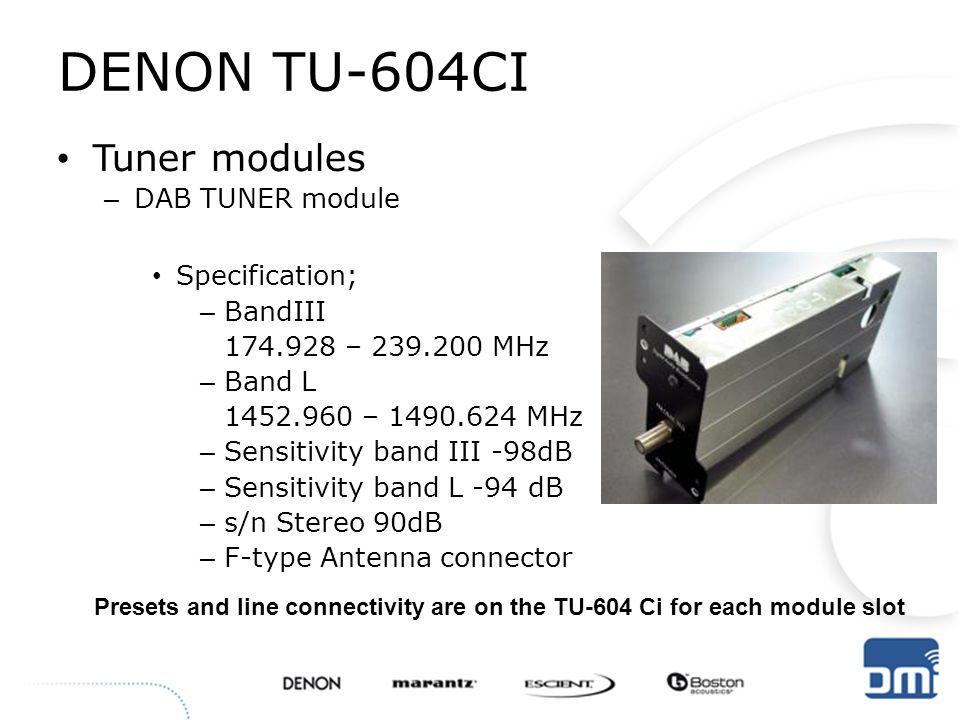 DENON TU-604CI Tuner modules DAB TUNER module Specification; BandIII