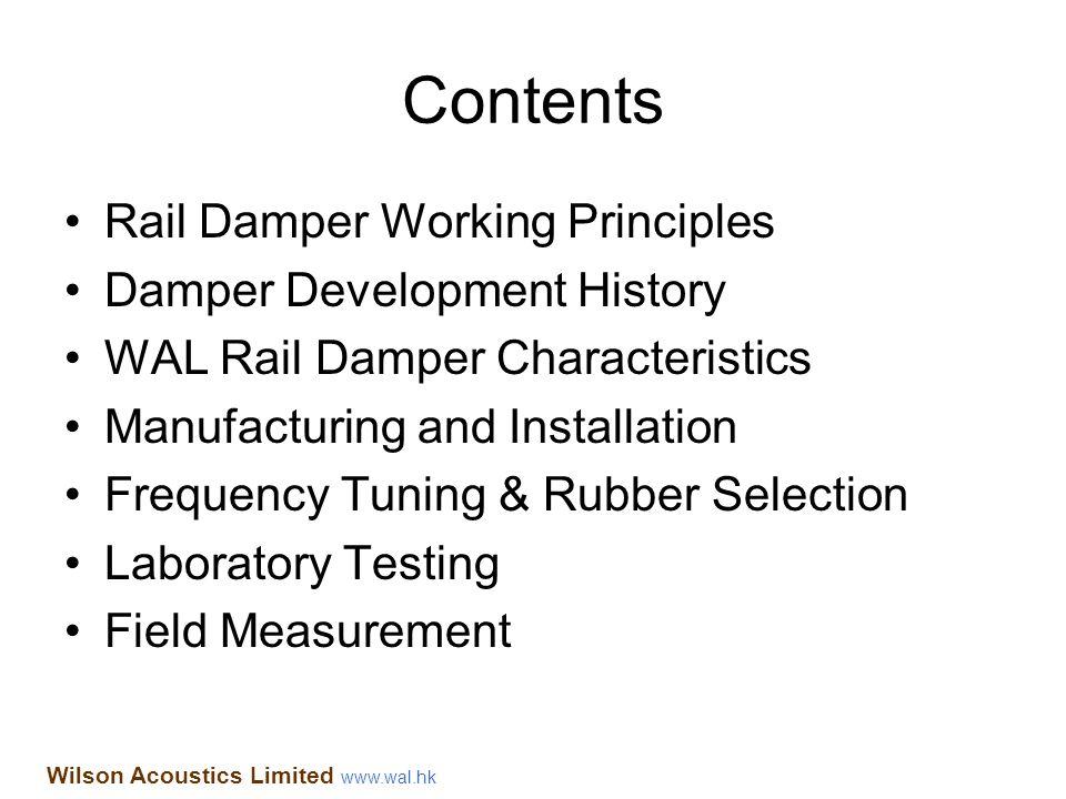 Contents Rail Damper Working Principles Damper Development History