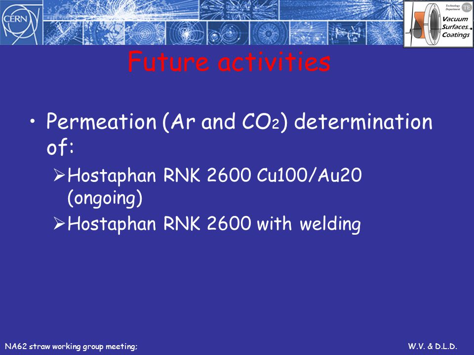 Future activities Permeation (Ar and CO2) determination of: