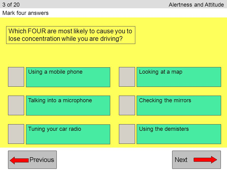 3 of 20 Alertness and Attitude