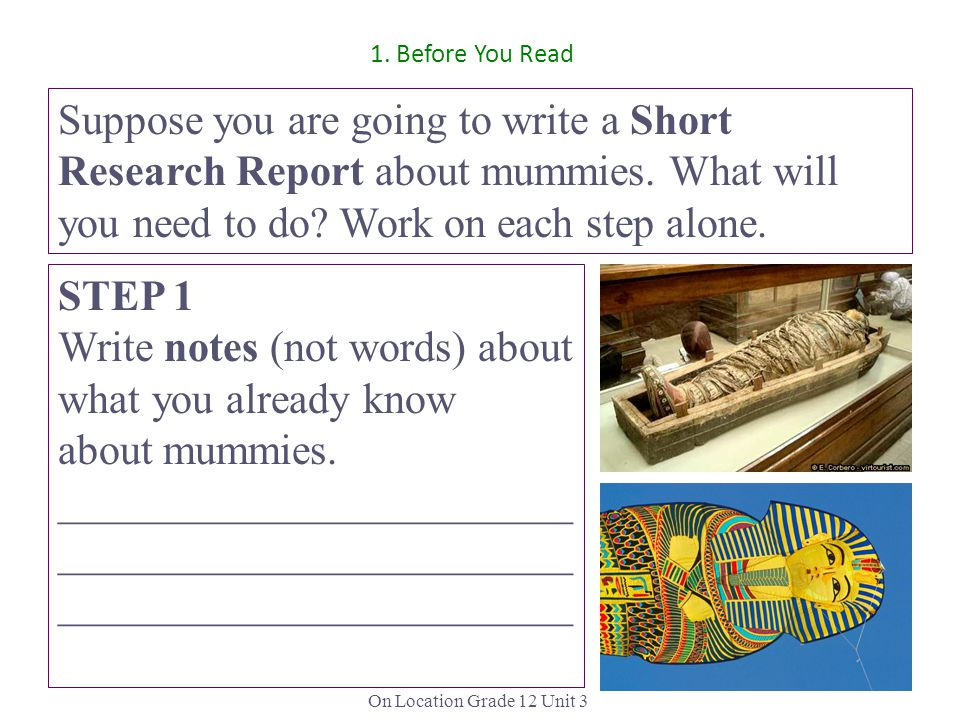 Write notes (not words) about what you already know about mummies.