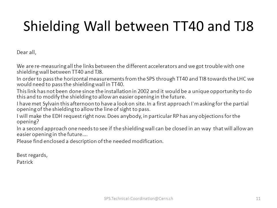 Shielding Wall between TT40 and TJ8