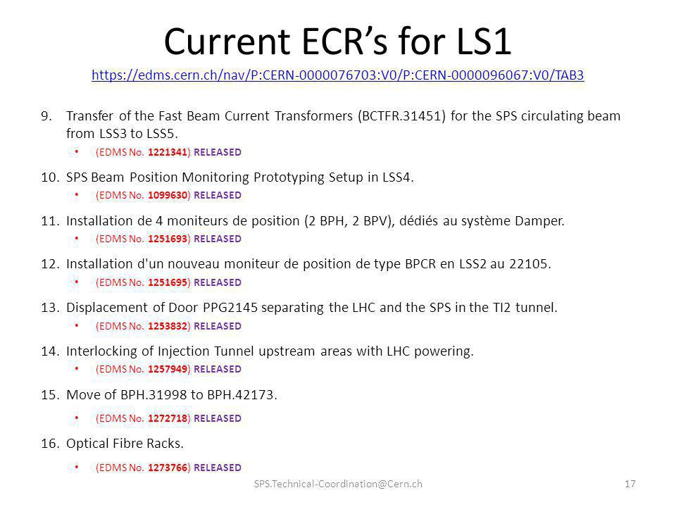 Current ECR's for LS1 https://edms.cern.ch/nav/P:CERN-0000076703:V0/P:CERN-0000096067:V0/TAB3.
