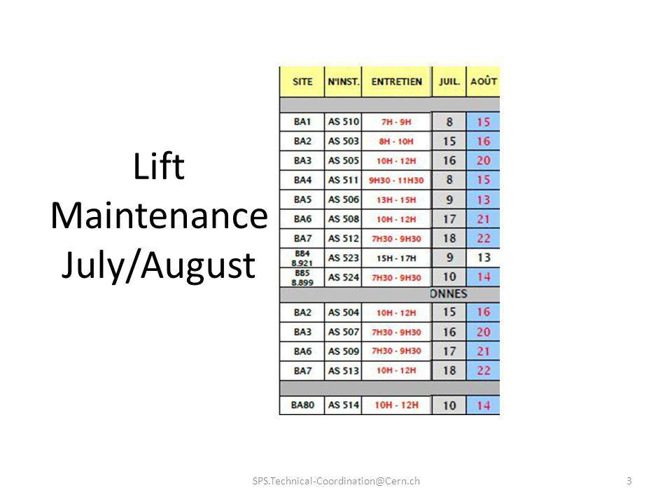 Lift Maintenance July/August