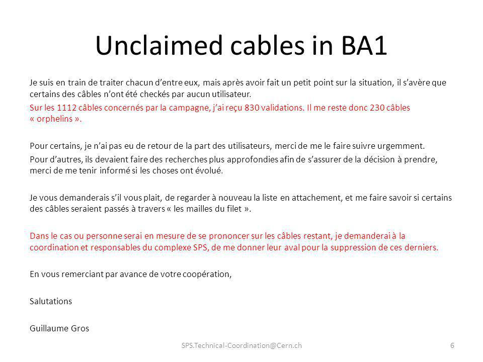 Unclaimed cables in BA1