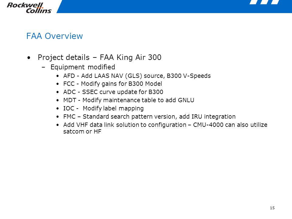 FAA Overview Project details – FAA King Air 300 Equipment modified