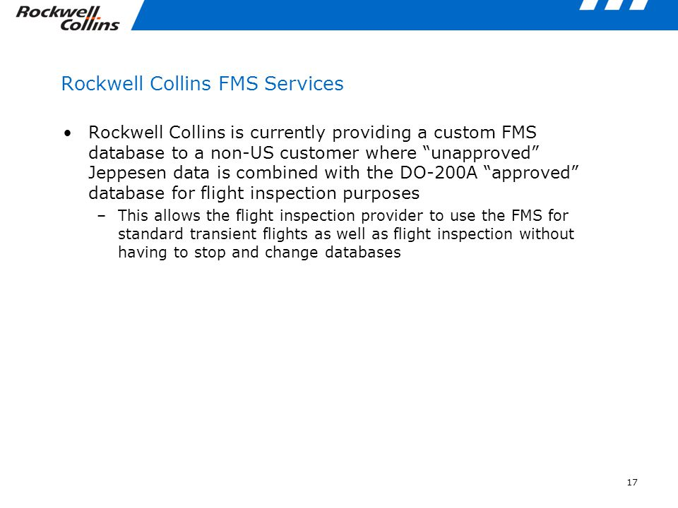 Rockwell Collins FMS Services