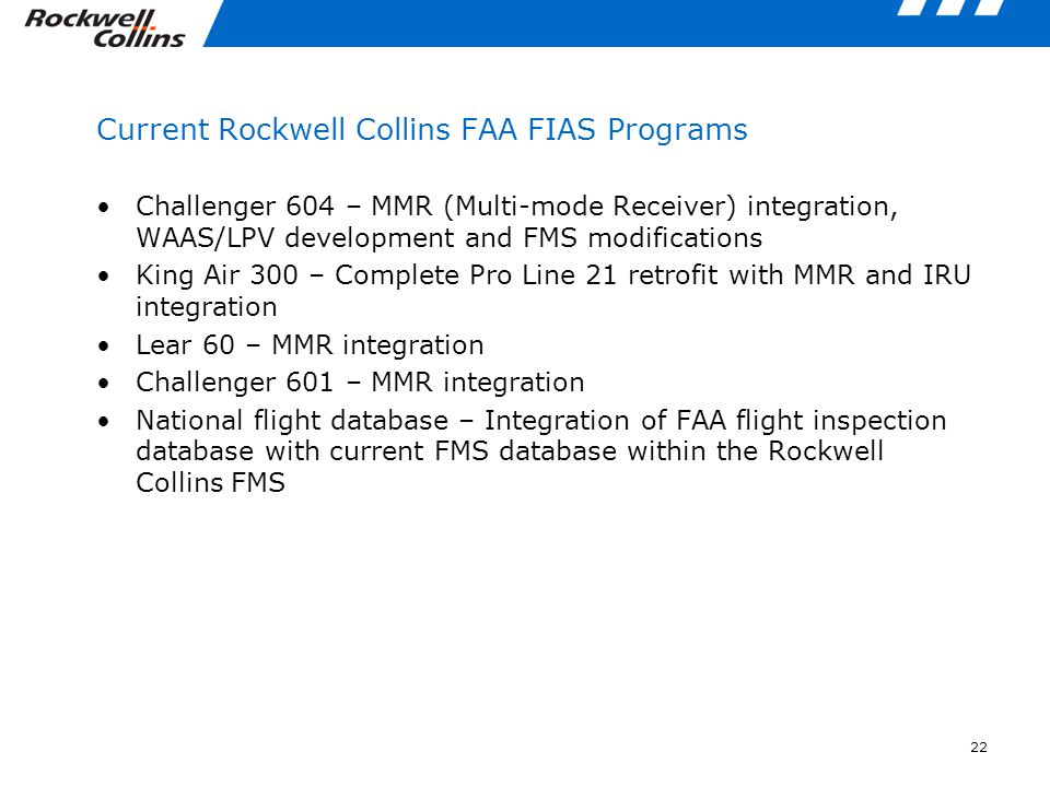 Current Rockwell Collins FAA FIAS Programs