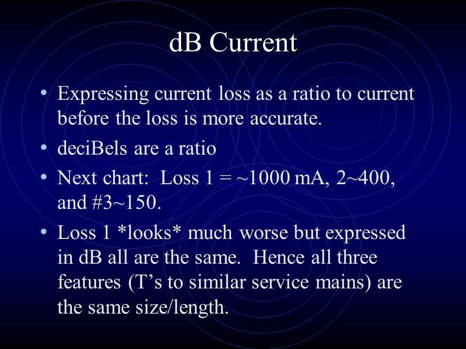 dB Current Expressing current loss as a ratio to current before the loss is more accurate. deciBels are a ratio.