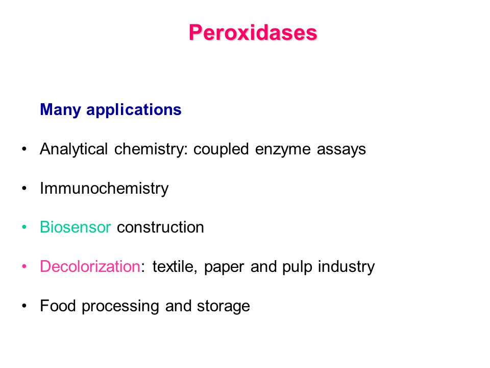Peroxidases Analytical chemistry: coupled enzyme assays