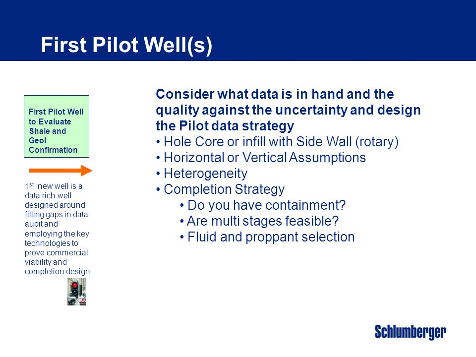 First Pilot Well(s) Consider what data is in hand and the quality against the uncertainty and design the Pilot data strategy.