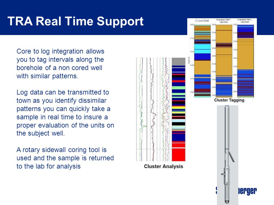 TRA Real Time Support Core to log integration allows you to tag intervals along the borehole of a non cored well with similar patterns.