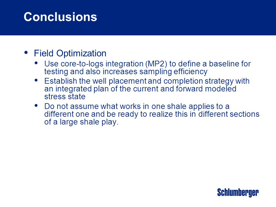 Conclusions Field Optimization