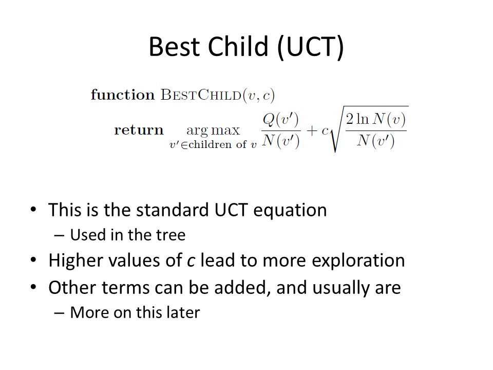 Best Child (UCT) This is the standard UCT equation