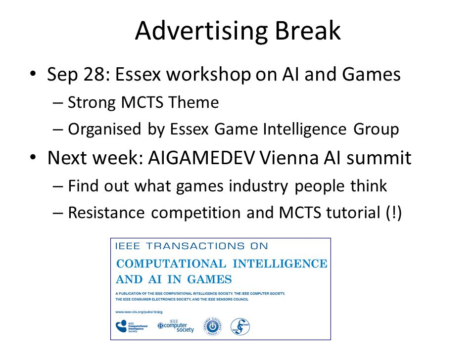 Advertising Break Sep 28: Essex workshop on AI and Games