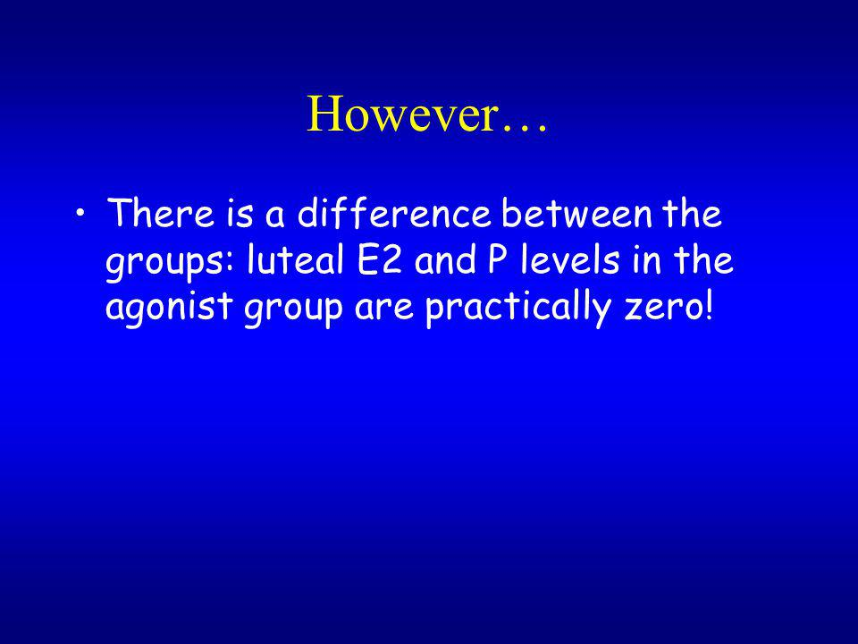 However… There is a difference between the groups: luteal E2 and P levels in the agonist group are practically zero!