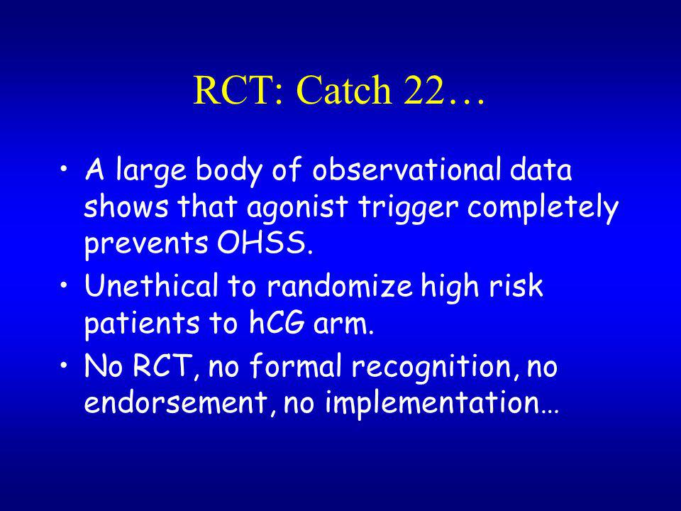 RCT: Catch 22… A large body of observational data shows that agonist trigger completely prevents OHSS.