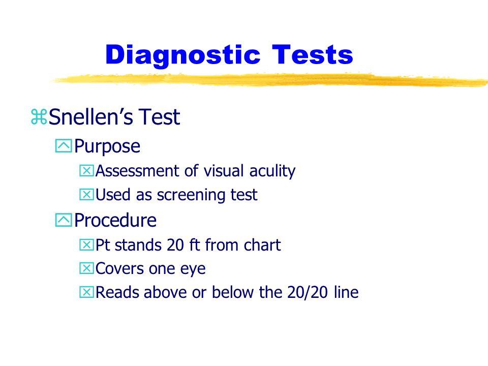 Diagnostic Tests Snellen's Test Purpose Procedure