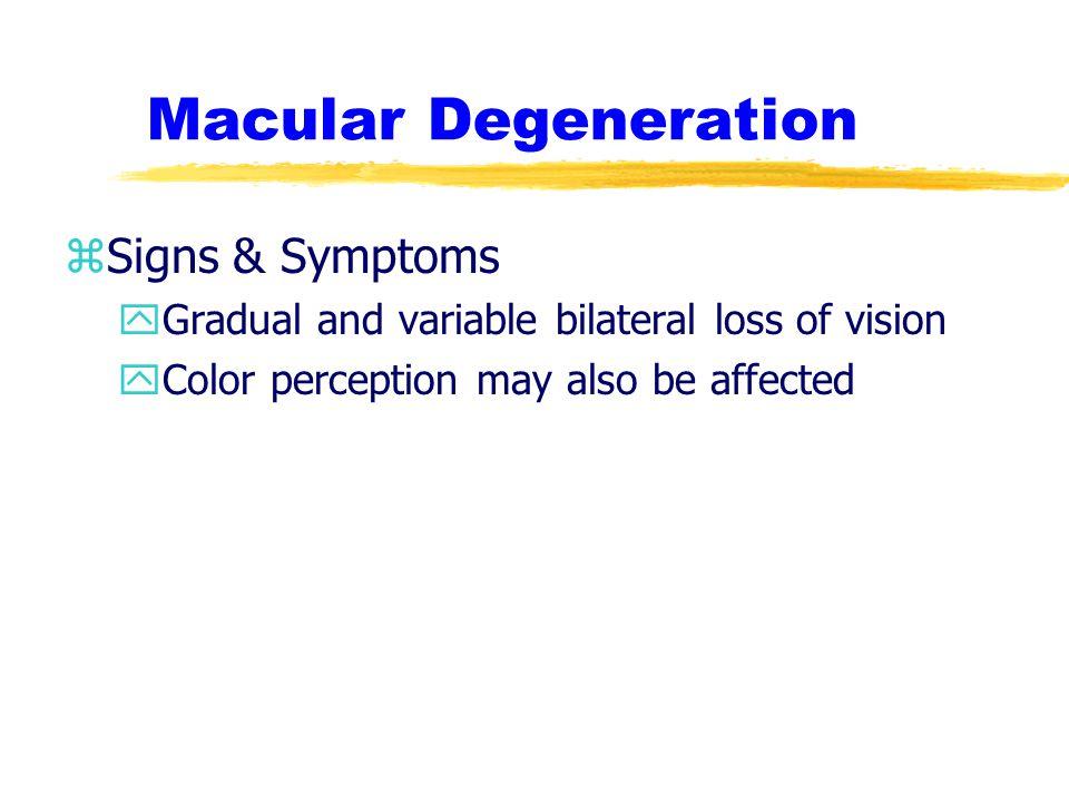 Macular Degeneration Signs & Symptoms