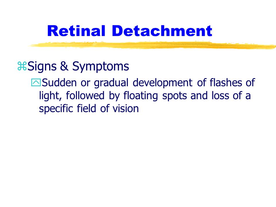 Retinal Detachment Signs & Symptoms