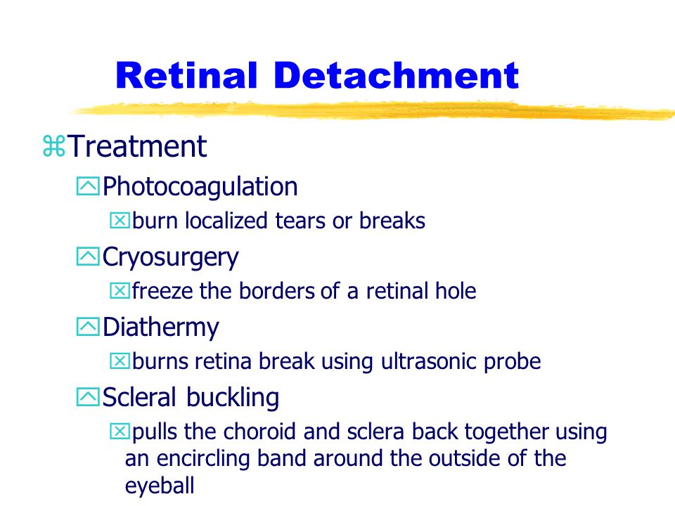 Retinal Detachment Treatment Photocoagulation Cryosurgery Diathermy