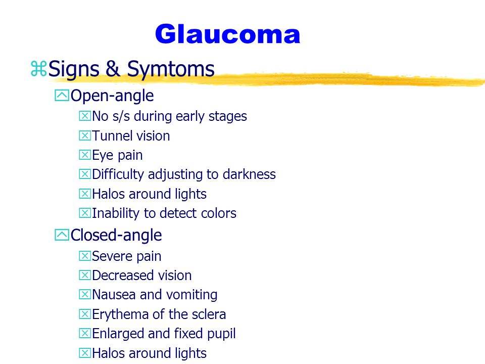 Glaucoma Signs & Symtoms Open-angle Closed-angle