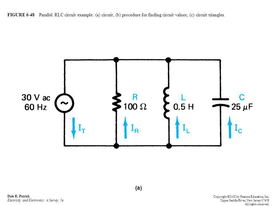FIGURE 6-48 Parallel RLC circuit example: (a) circuit; (b) procedure for finding circuit values; (c) circuit triangles.