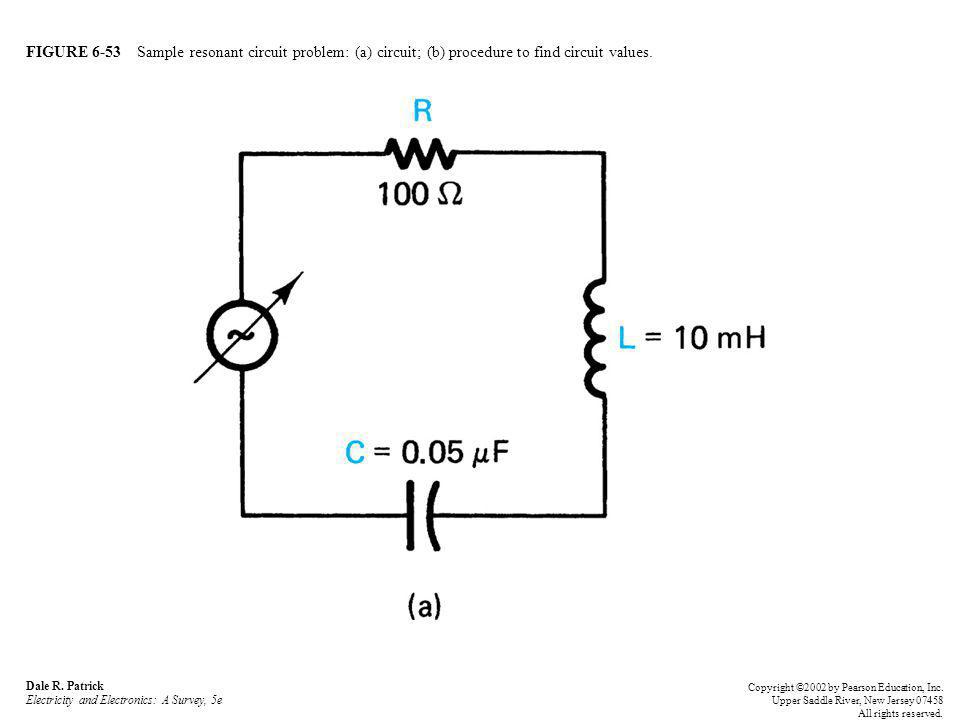 FIGURE 6-53 Sample resonant circuit problem: (a) circuit; (b) procedure to find circuit values.