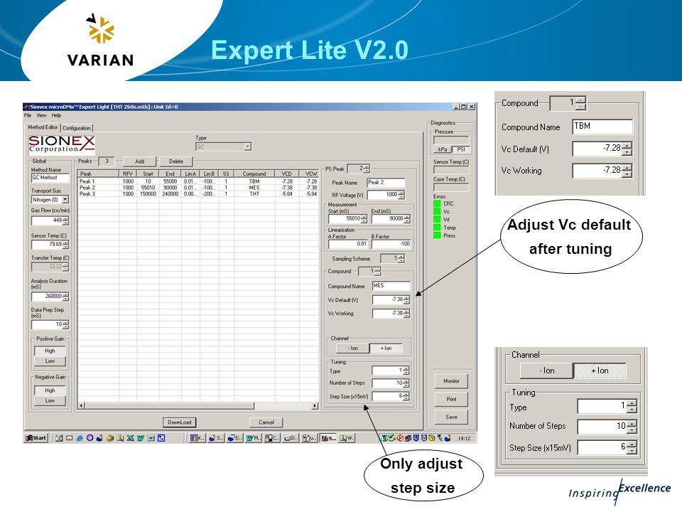 Expert Lite V2.0 Adjust Vc default after tuning Only adjust step size