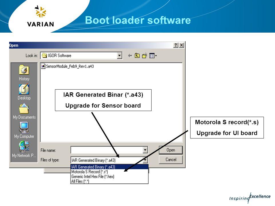IAR Generated Binar (*.a43) Upgrade for Sensor board