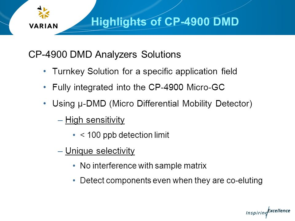 Highlights of CP-4900 DMD CP-4900 DMD Analyzers Solutions