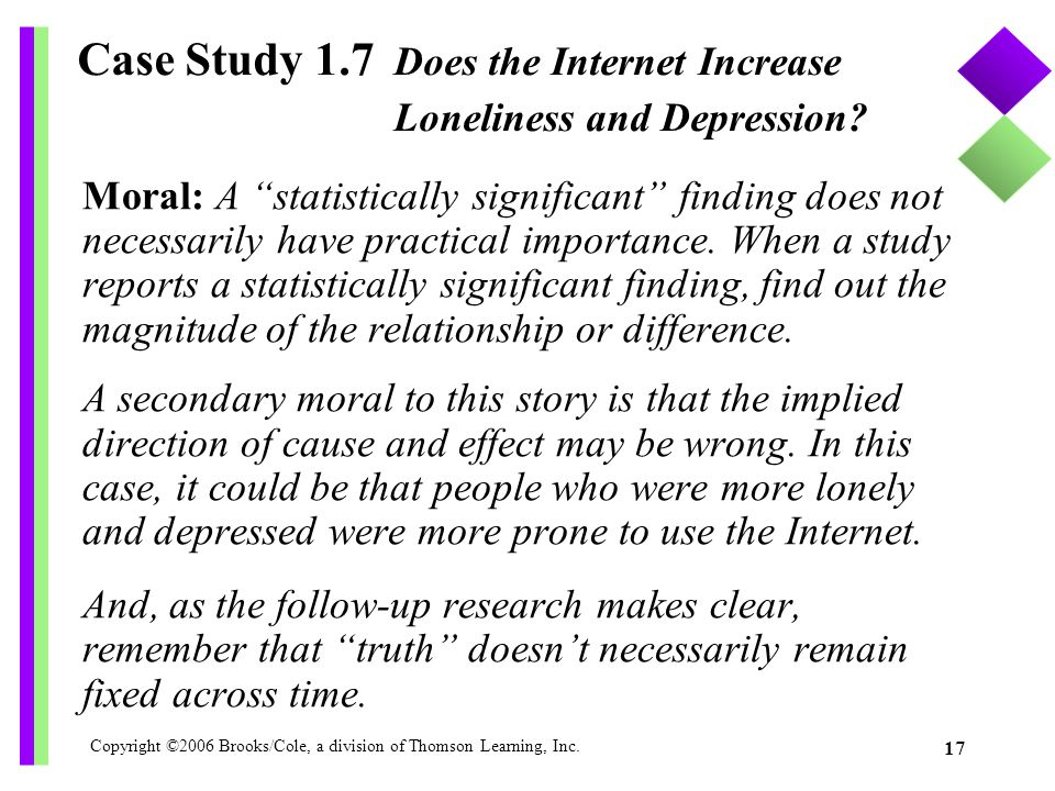 Case Study 1.7 Does the Internet Increase Loneliness and Depression