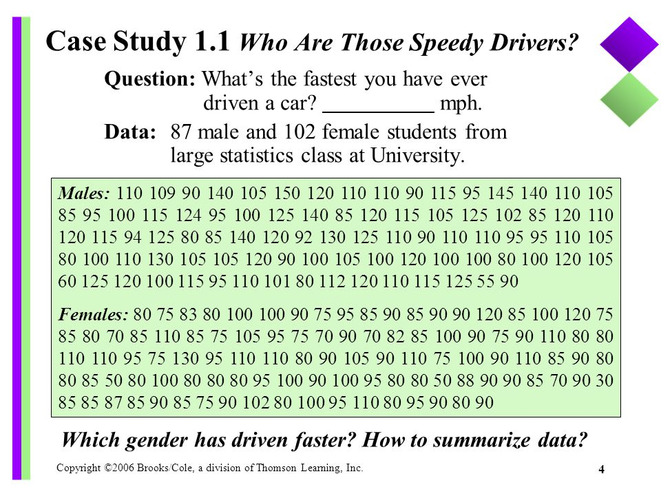 Case Study 1.1 Who Are Those Speedy Drivers