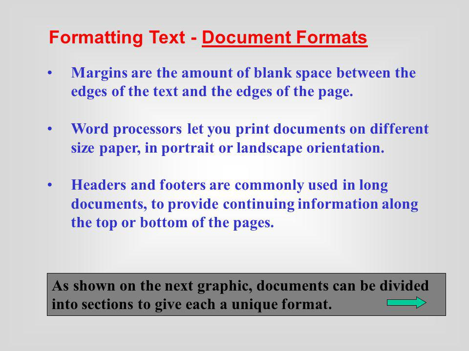 Formatting Text - Document Formats