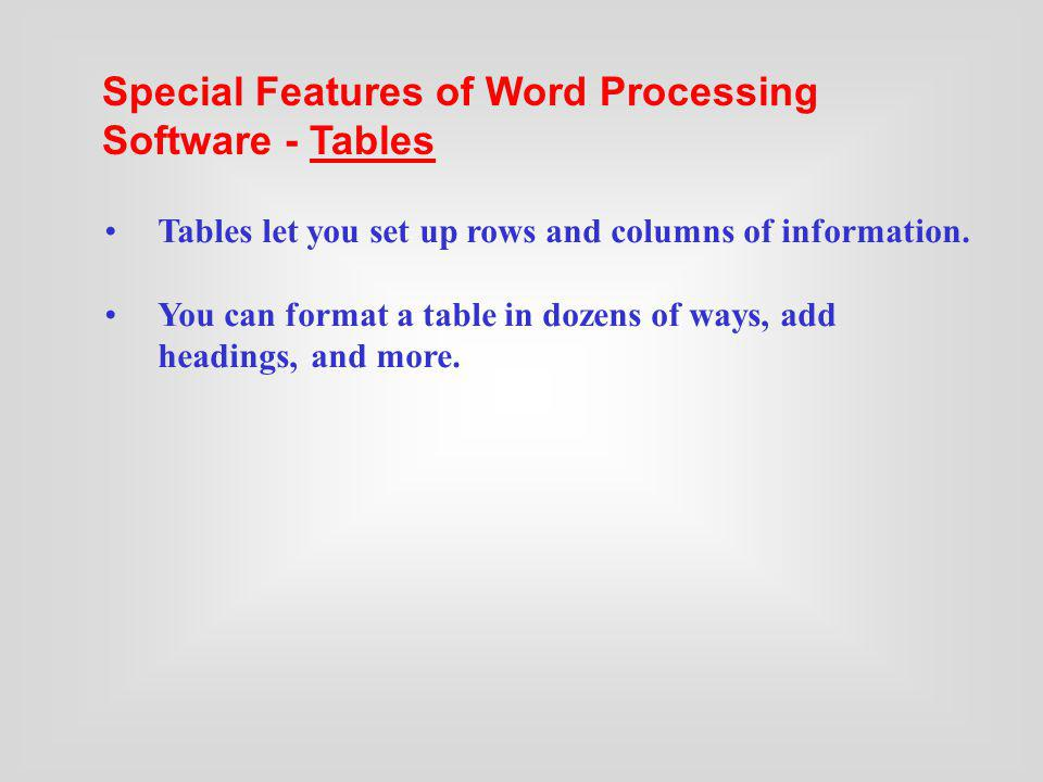 Special Features of Word Processing Software - Tables