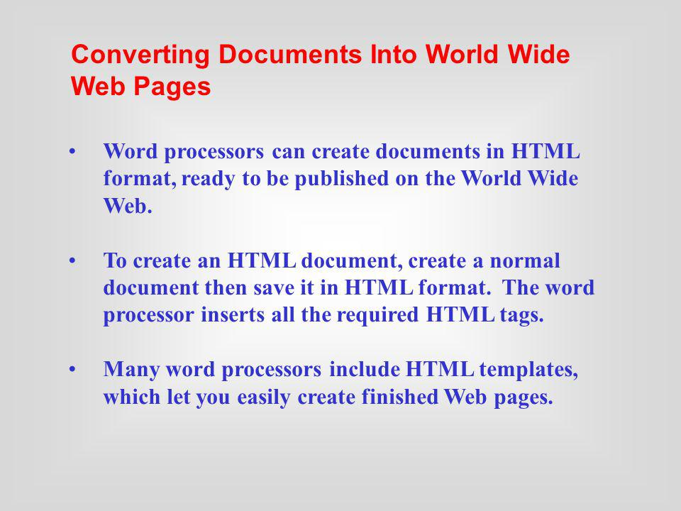Converting Documents Into World Wide Web Pages